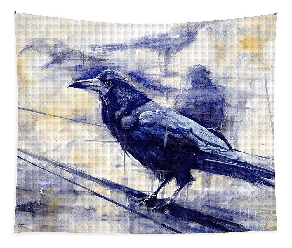 Pigeons Tapestry featuring the painting Waiting For The Lonely Train by Suzann Sines