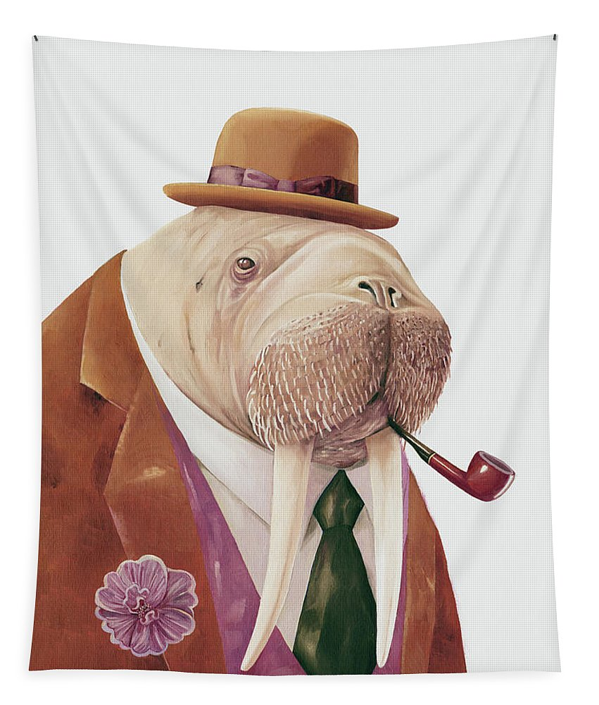 Tapestry featuring the painting Walrus by Animal Crew