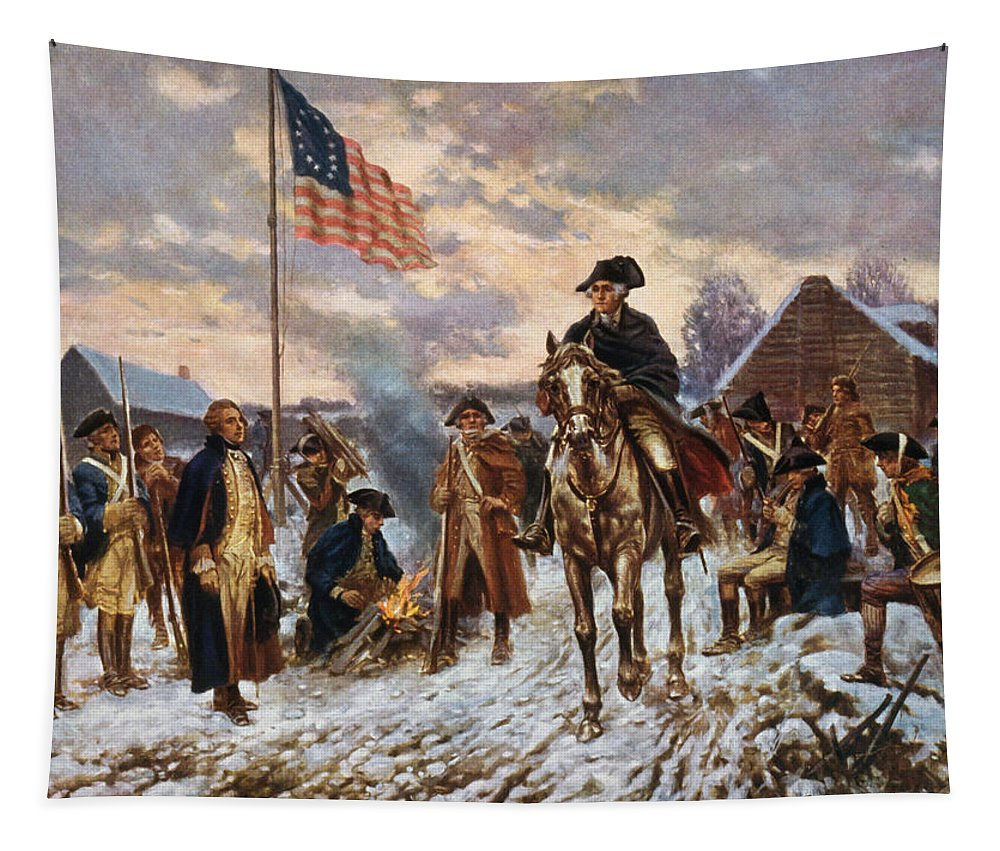 George Washington Tapestry featuring the painting Washington At Valley Forge by War Is Hell Store