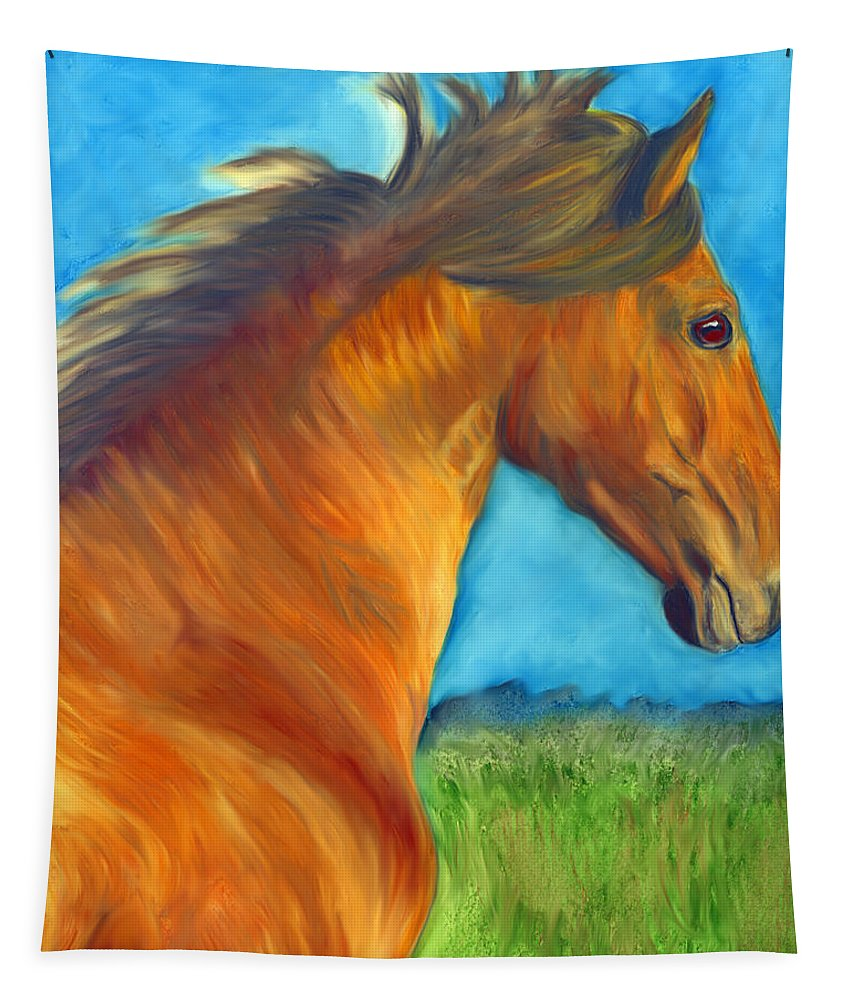 Horse Tapestry featuring the painting Watching The Morning Breeze by Marcella Chapman