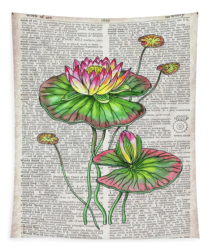 Dictionary Tapestry featuring the painting Water Lily Dictionary Page Watercolor Art by Irina Sztukowski