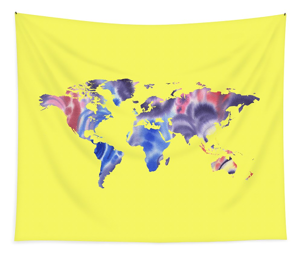 Purple Tapestry featuring the painting Watercolor Silhouette World Map Png IIi by Irina Sztukowski