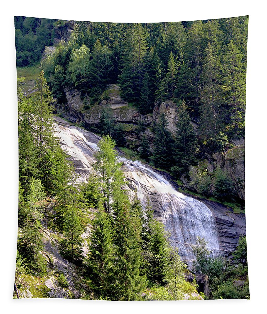 Outdoors Tapestry featuring the photograph Waterfall In The Mountains. by Raymond De la Croix