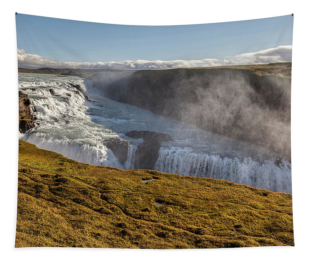 David Letts Tapestry featuring the photograph Waterfall Mist Of Iceland by David Letts