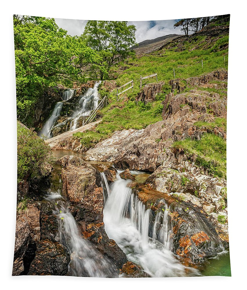 Watkin Path Tapestry featuring the photograph Watkin Path Waterfall Wales by Adrian Evans