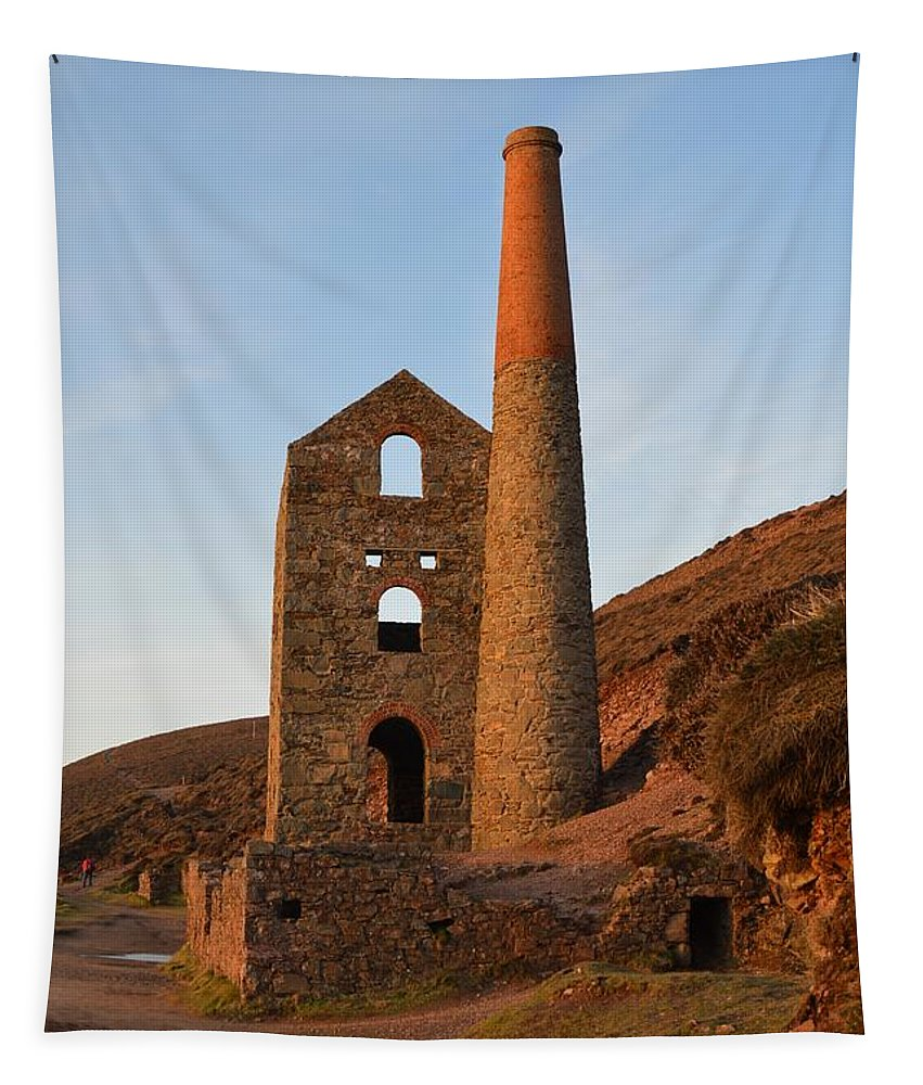 Cornwall Tapestry featuring the photograph Wheal Coates Mine Chapel Porth Cornwall by Grace Collett