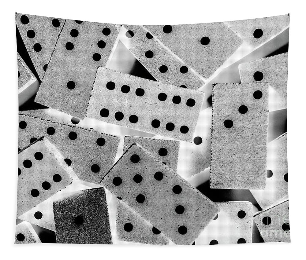Game Tapestry featuring the photograph White Dots Black Chips by Jorgo Photography - Wall Art Gallery