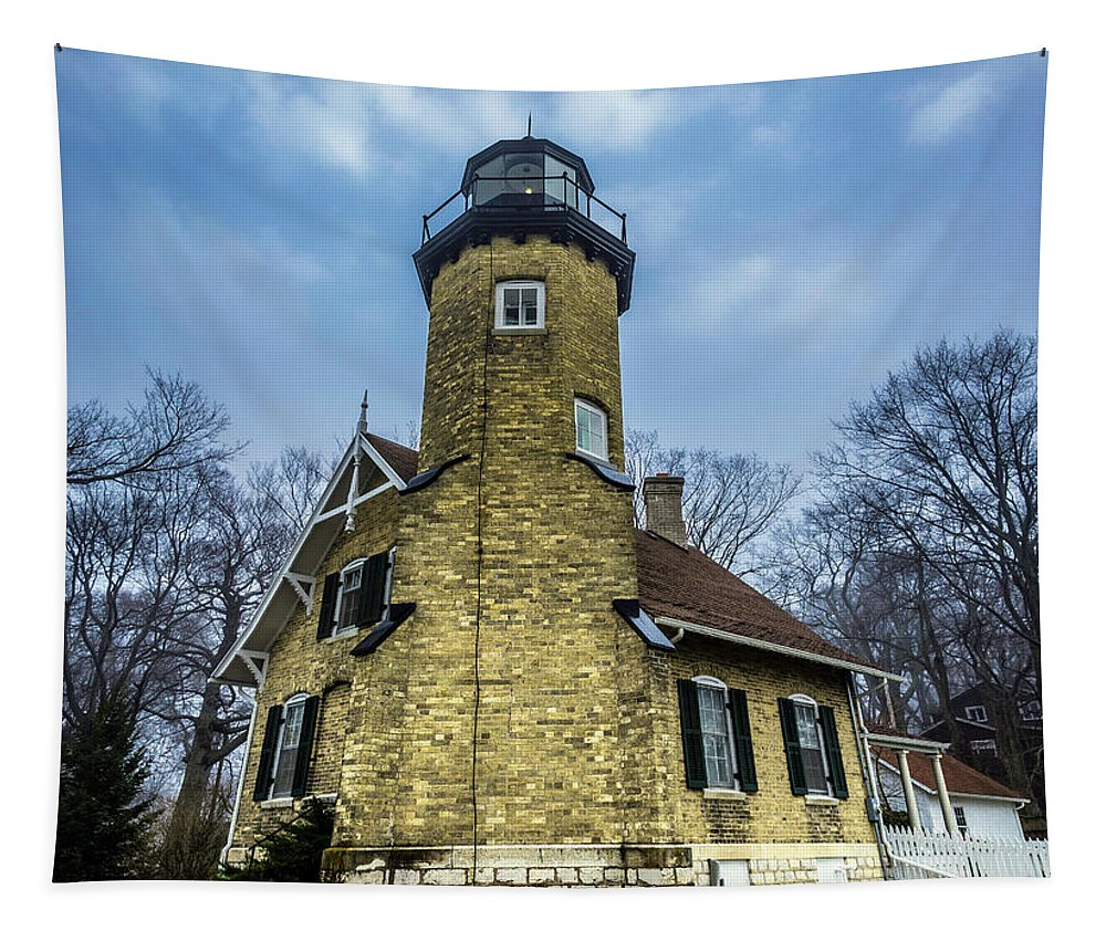 Beach Tapestry featuring the photograph White River Lighthouse by Enzwell Designs