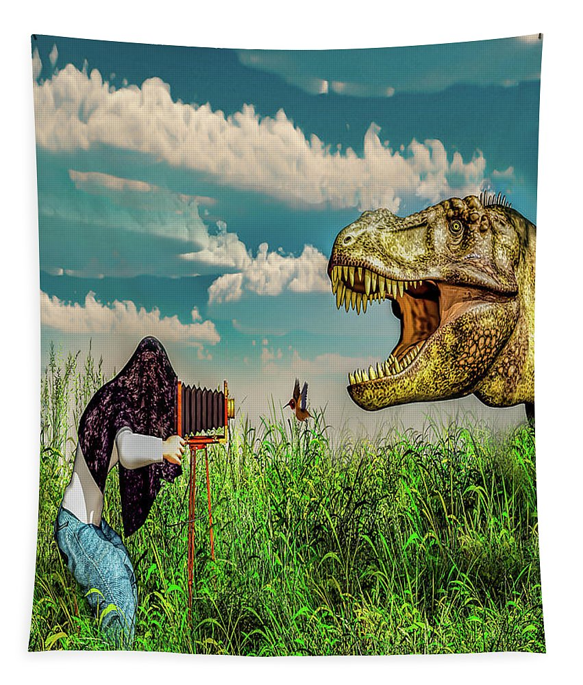 Dinosaur Tapestry featuring the digital art Wildlife Photographer by Bob Orsillo