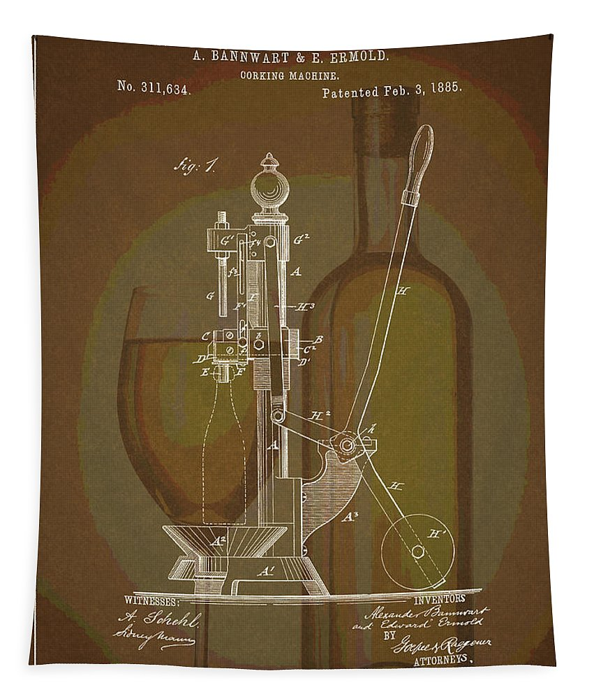 1885 Corking Machine Tapestry featuring the drawing Wine Bottle Corking Patent by Dan Sproul
