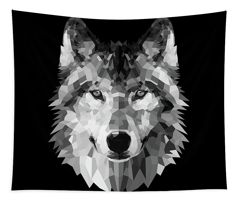 Wolf Tapestry featuring the digital art Wolf's Face by Naxart Studio