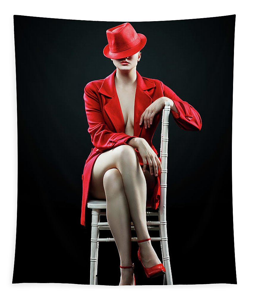 Woman Tapestry featuring the photograph Woman in red by Johan Swanepoel