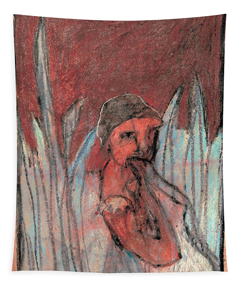 Red Tapestry featuring the drawing Woman In Reeds by Edgeworth DotBlog