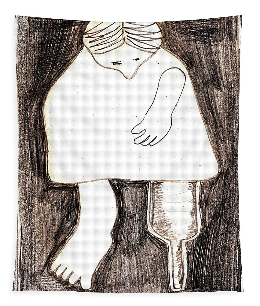 Pencil Tapestry featuring the drawing Woman With A Wooden Leg Drawing by Artist Dot