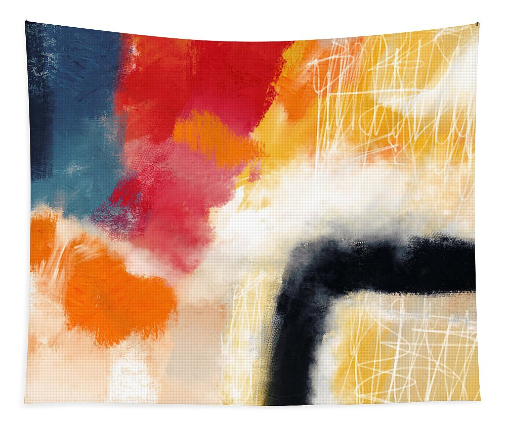 Abstract Tapestry featuring the mixed media Wonderland 4- Art By Linda Woods by Linda Woods