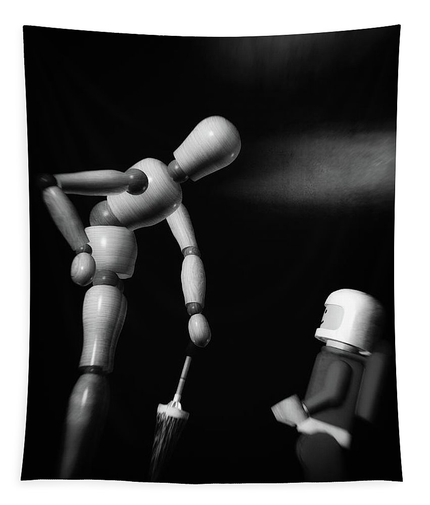 Lego Spaceman Tapestry featuring the photograph Wooden Man With Umbrella by Bob Orsillo