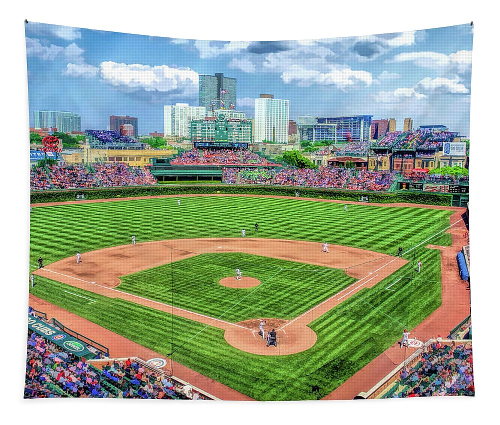 Wrigley Field Tapestry featuring the painting Wrigley Field Chicago Cubs Baseball Ballpark Stadium by Christopher Arndt