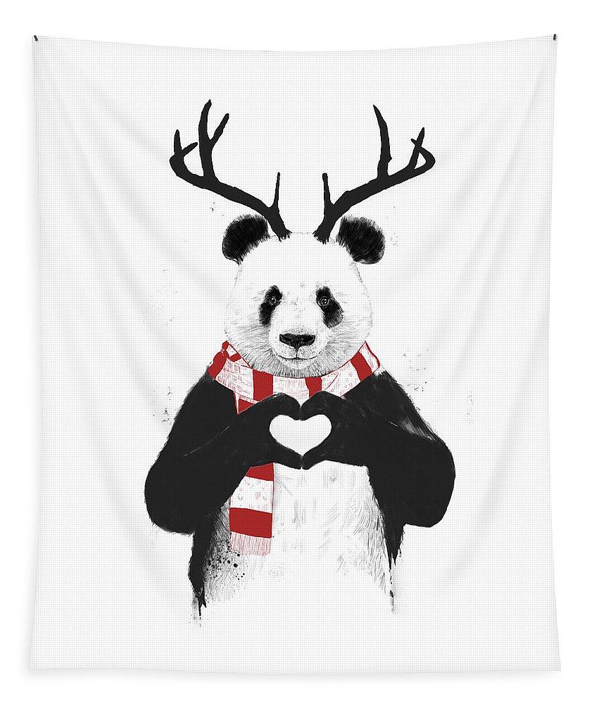 Panda Tapestry featuring the drawing Xmas panda by Balazs Solti