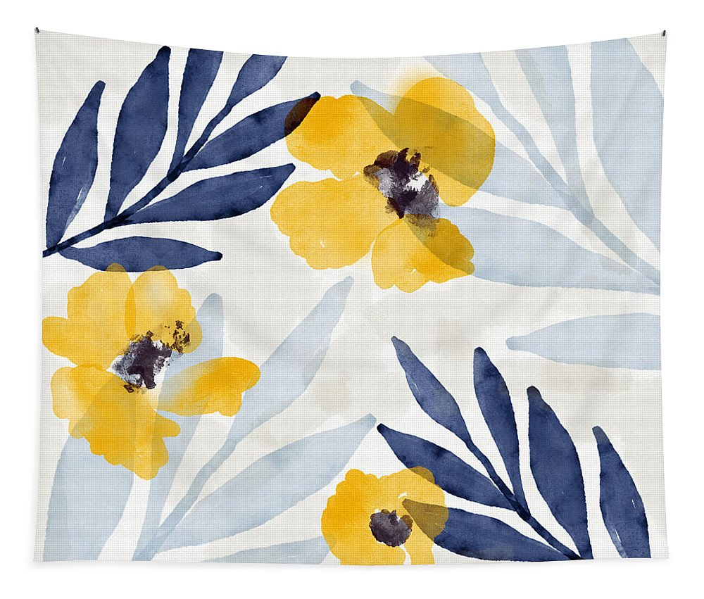 Flowers Tapestry featuring the mixed media Yellow and Navy 1- Floral Art by Linda Woods by Linda Woods