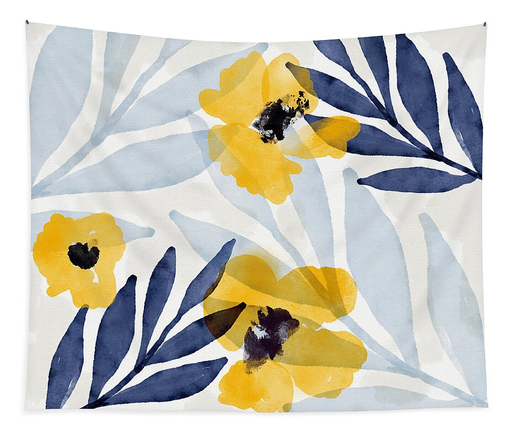 Flowers Tapestry featuring the mixed media Yellow and Navy 2- Floral Art by Linda Woods by Linda Woods