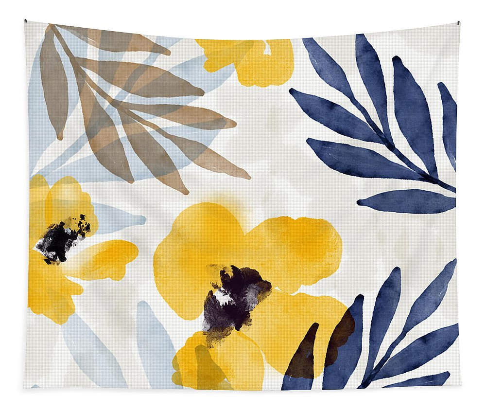 Flowers Tapestry featuring the mixed media Yellow and Navy 3- Floral Art by Linda Woods by Linda Woods