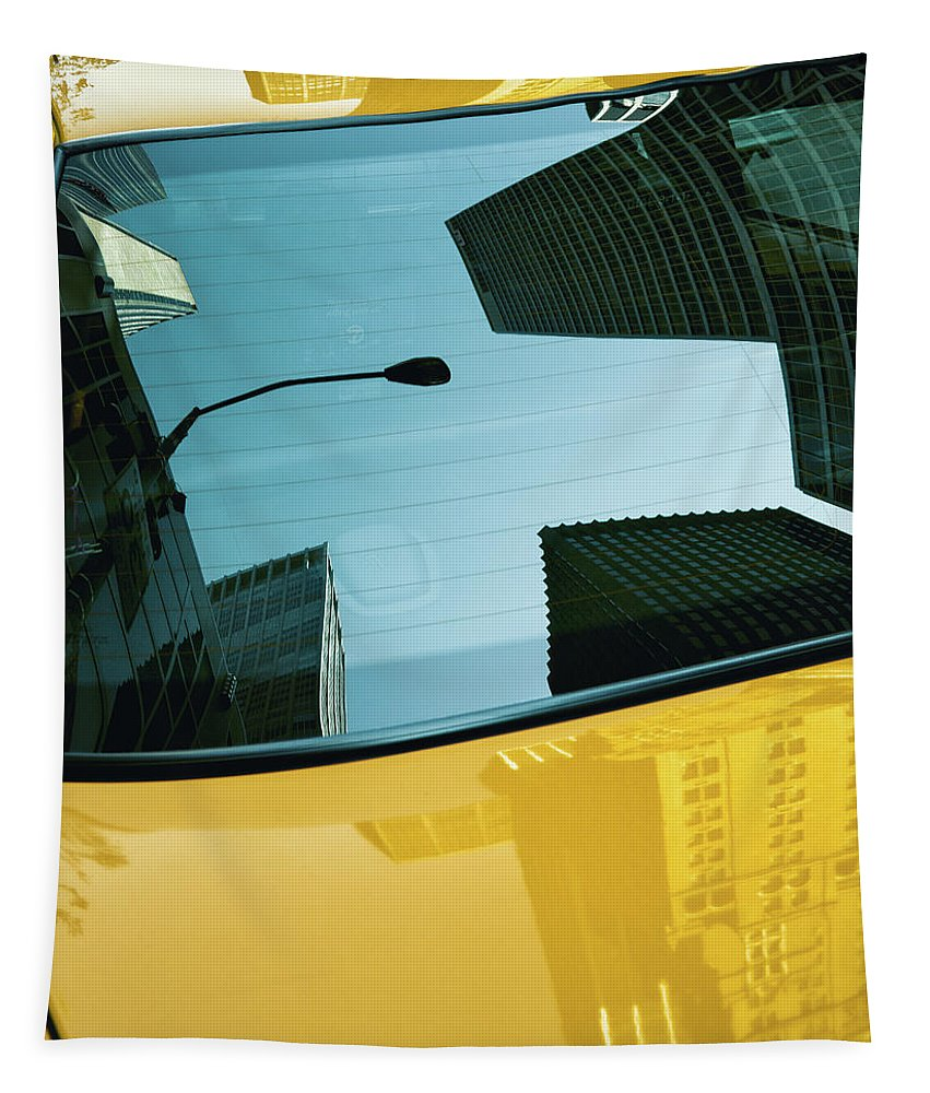 New York Taxi Tapestry featuring the photograph Yellow Cab, Big Apple by Dave Bowman