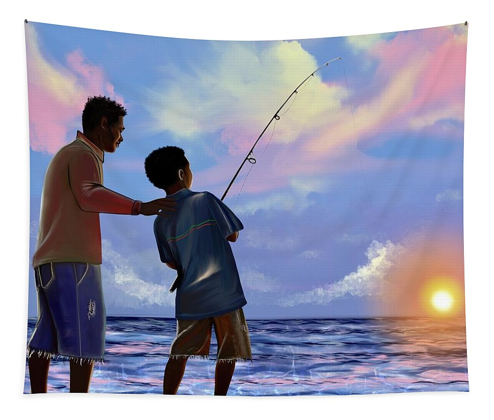Fishing Tapestry featuring the digital art You make Him proud by Artist RiA