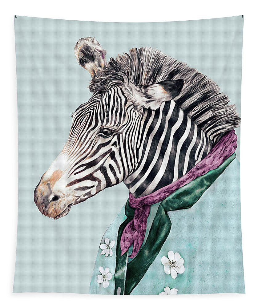 Boho Tapestry featuring the painting Zebra Blue by Animal Crew