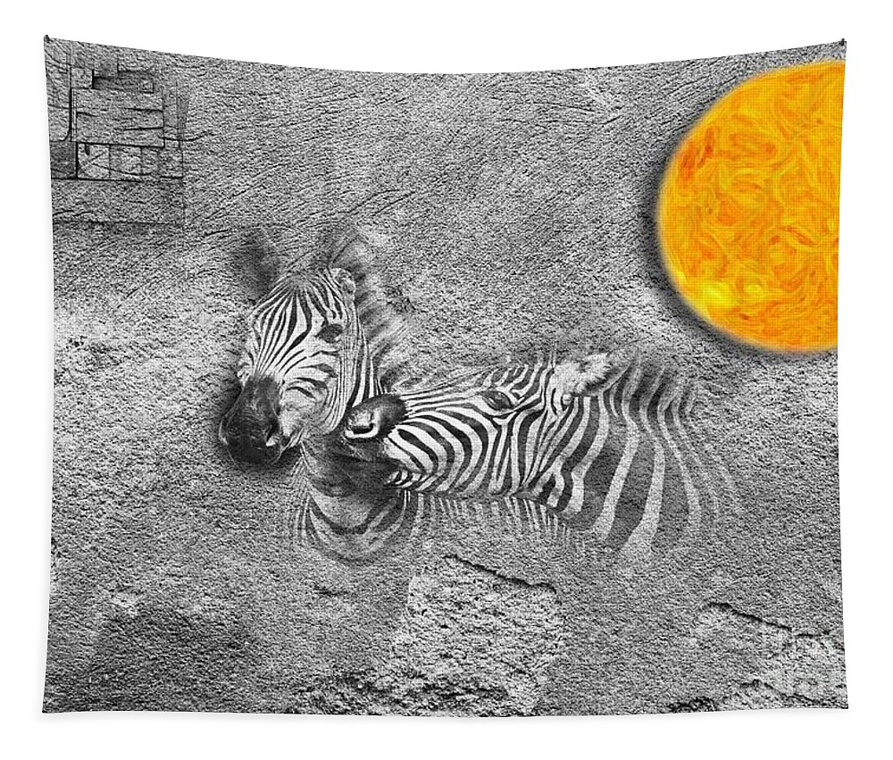 Imia Design Tapestry featuring the digital art Zebras No 02 by iMia dEsigN
