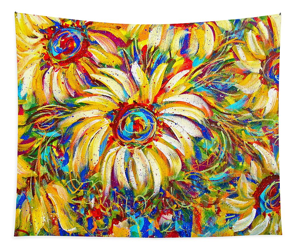 Flowers Tapestry featuring the painting Sunflower Burst by Natalie Holland