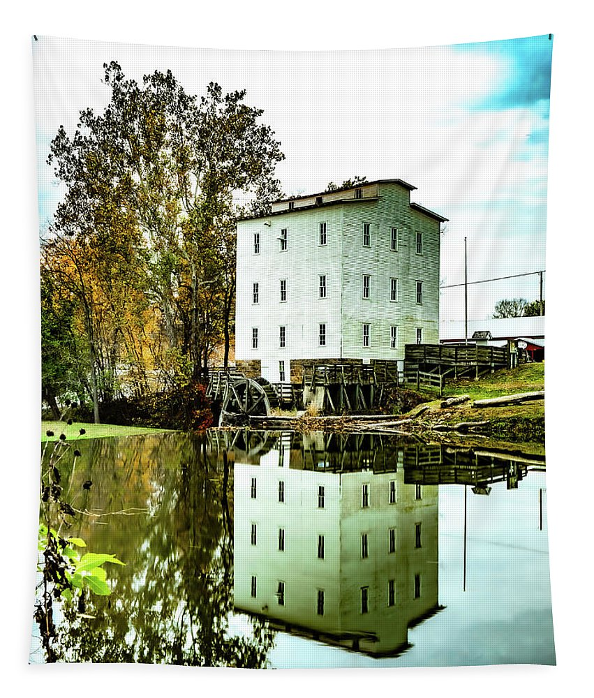 Grist Mill Tapestry featuring the photograph Mansfield Roller Mill by Scott Smith