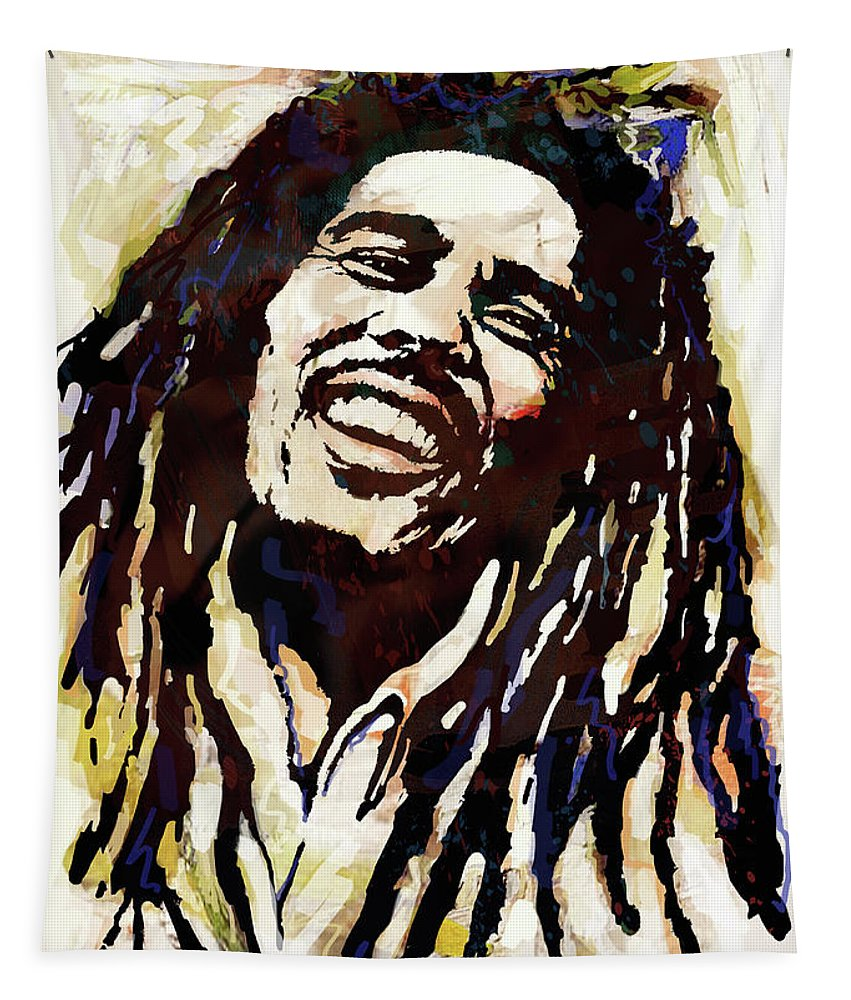Bob Marley Art Drawing Sketch Portrait Tapestry featuring the mixed media Bob Marley pop arts poser by Kim Wang