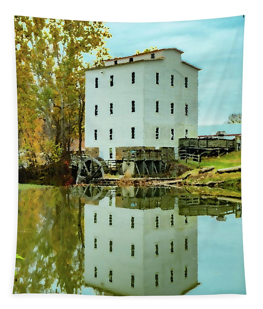 Landscape Tapestry featuring the photograph Mansfield Roller Mill #3 by Scott Smith