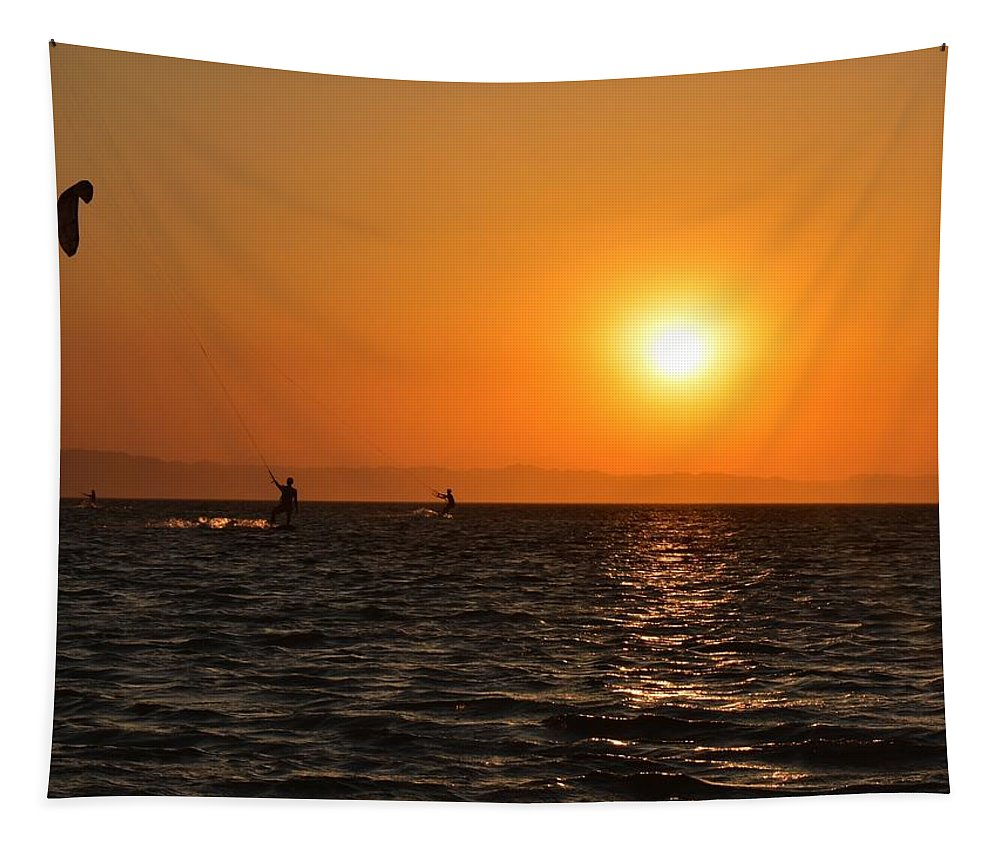 Kitesurfing Tapestry featuring the photograph Red sea sunset by Luca Lautenschlaeger