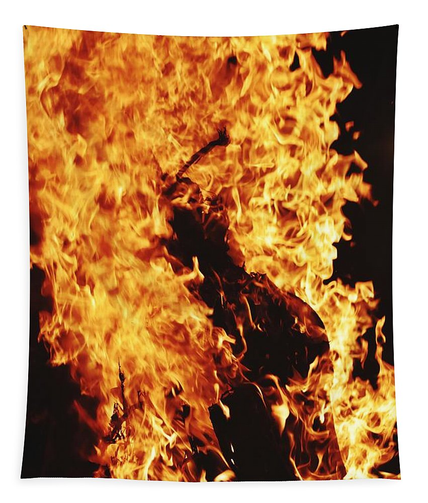 Campfire Tapestry featuring the photograph Closeup of Fire at time of festival by Ravindra Kumar