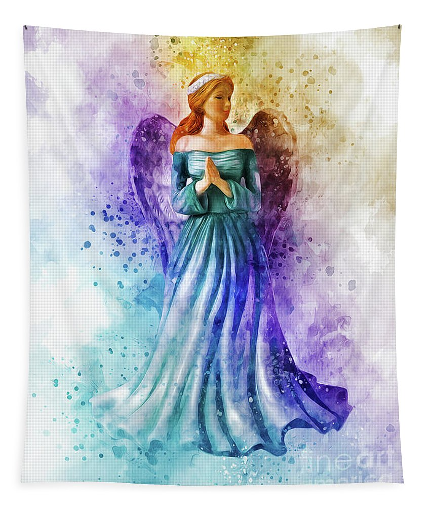 Angel Tapestry featuring the digital art Guardian Angel by Ian Mitchell