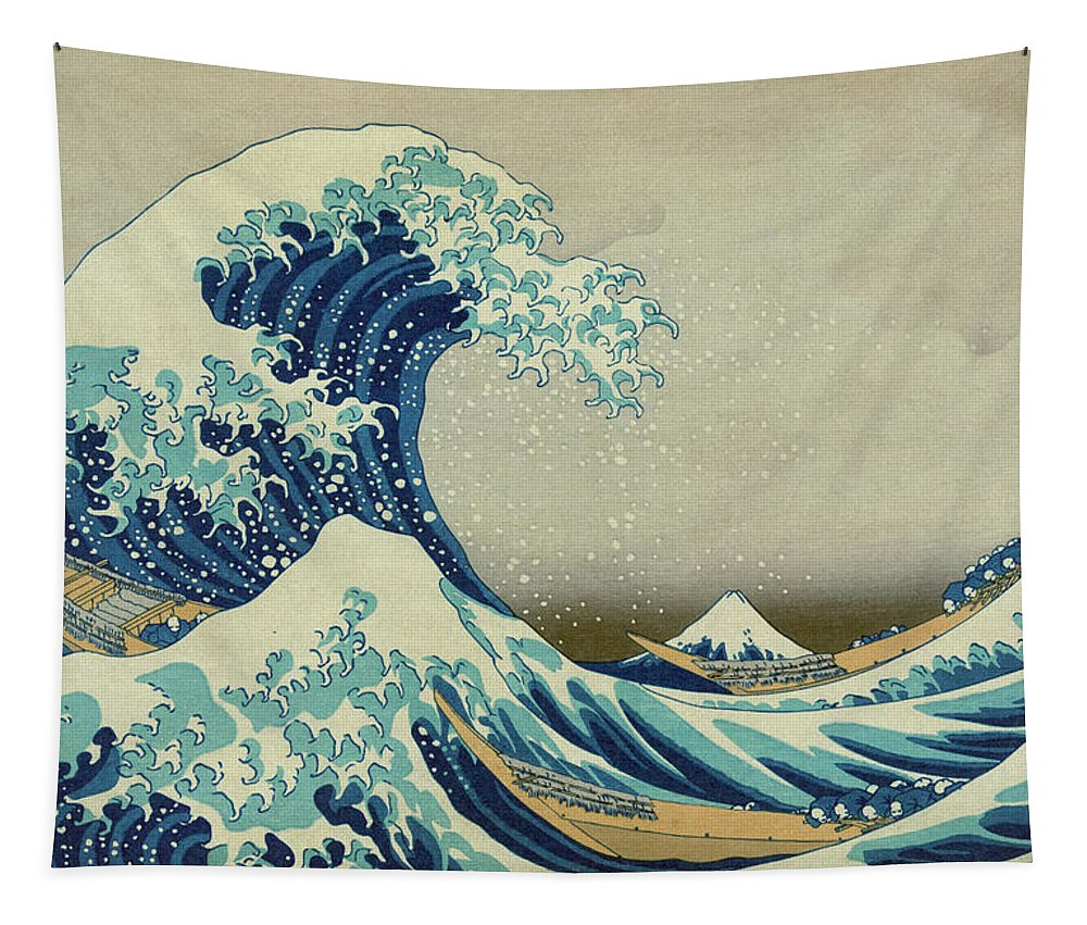 The Great Wave Off Kanagawa Tapestry featuring the painting The Great Wave off Kanagawa by Katsushika Hokusai