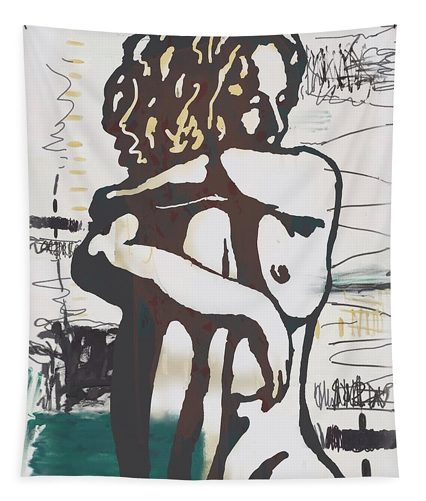 Nude Tapestry featuring the mixed media Nude pop art poster by Kim Wang