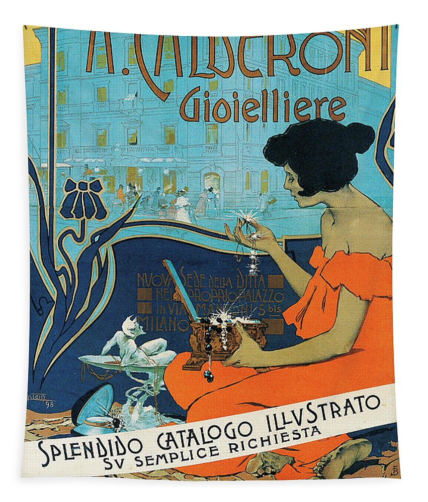 Diamond Tapestry featuring the painting A Calderoni Gioielliere, Milan, 1898 by Adolfo Hohenstein
