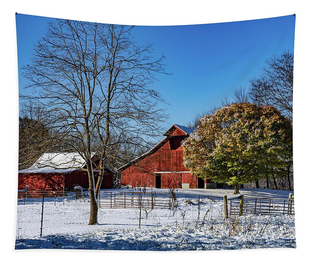 Landscape Tapestry featuring the photograph A Dusting Of Snow On The Farm by Scott Smith