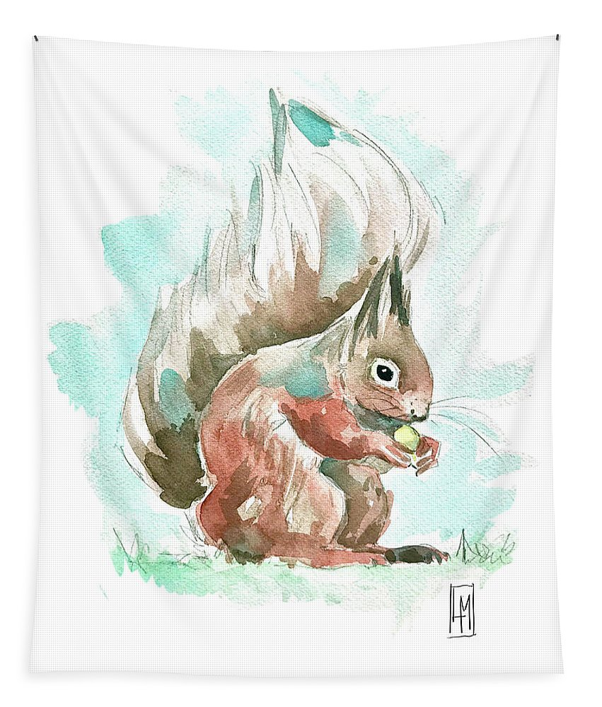 Cute Tapestry featuring the painting A Squirrel by Luisa Millicent