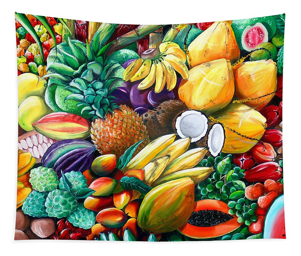 Caribbean Fruit Painting Tropical Fruit Painting Caribbean Pineapple Mangoes Bananas Coconut Watermelon Tropical Fruit Painting Tapestry featuring the painting A Taste Of The Islands by Karin Dawn Kelshall- Best