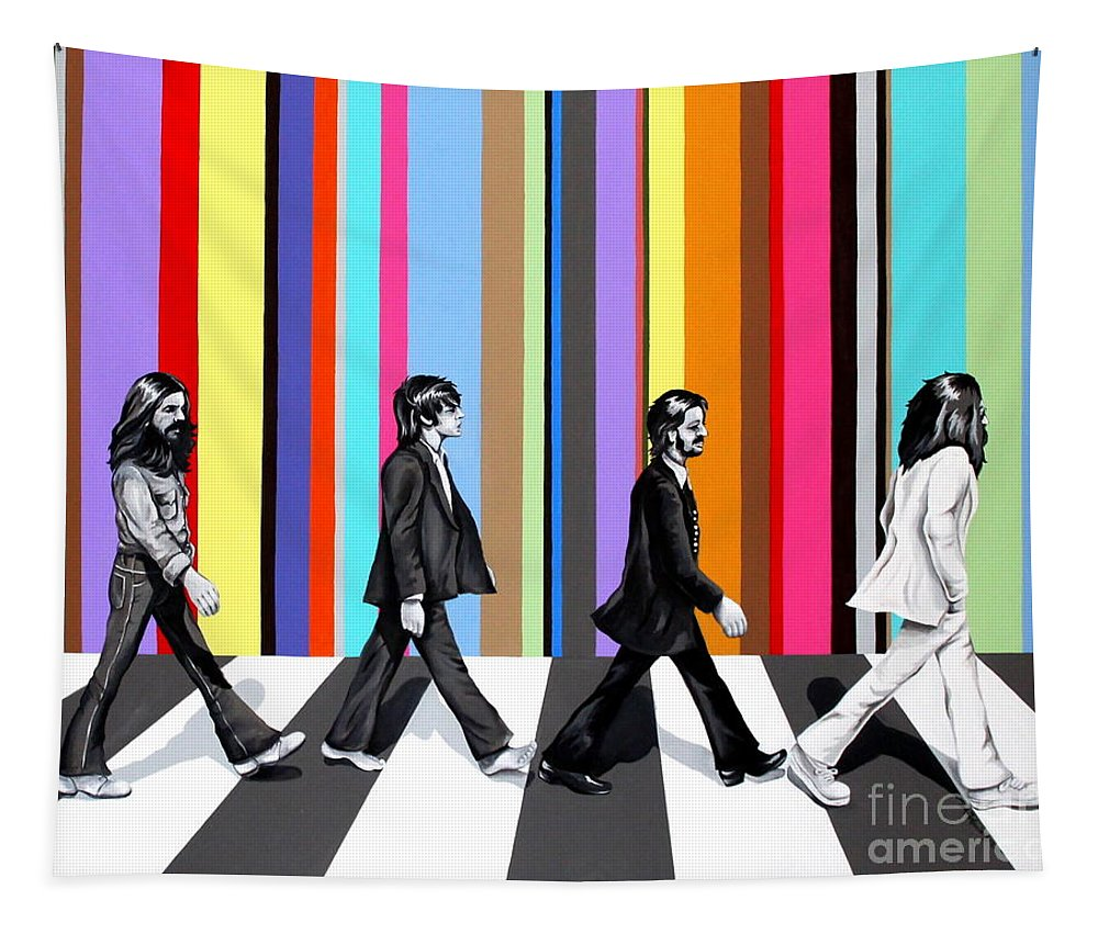 The Beatles Tapestry featuring the painting Abbey Road Technicolor by Amy Belonio