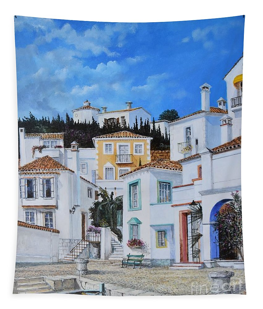 City Tapestry featuring the painting Afternoon Light In Montenegro by Sinisa Saratlic