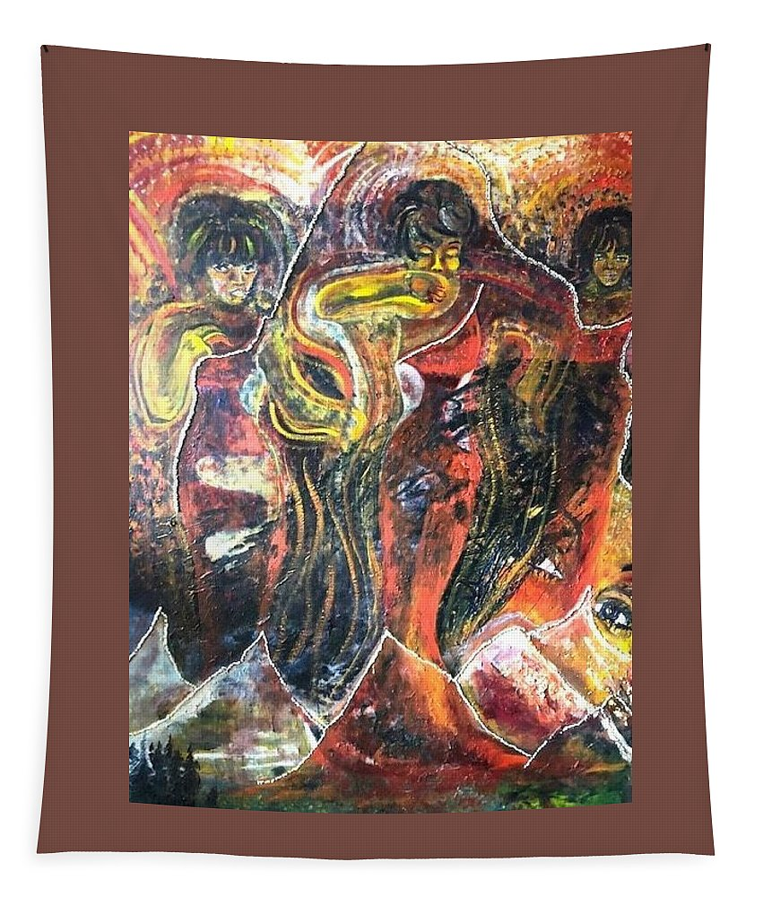 Women Tapestry featuring the painting Ain't No Mountain High Enough by Peggy Blood