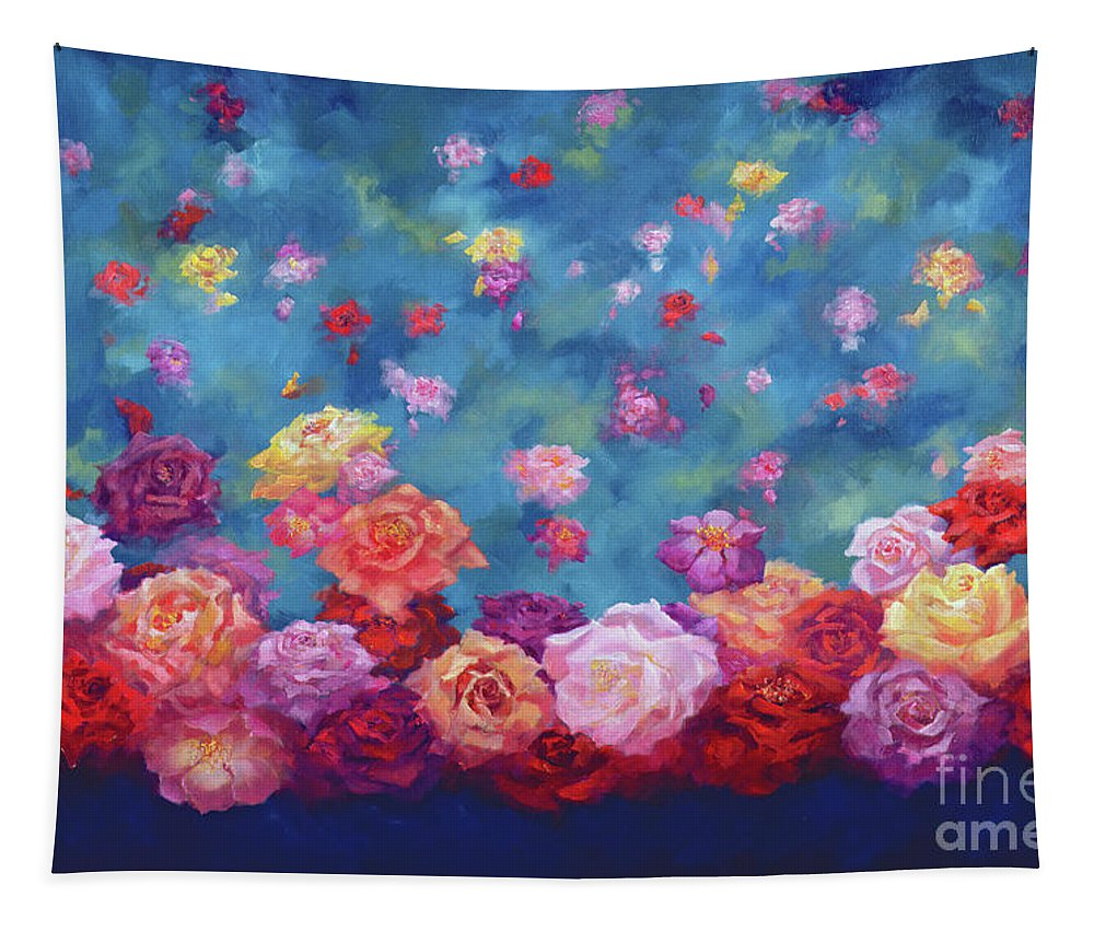 Anniversary Roses Tapestry featuring the painting Anniversary by Lee Campbell
