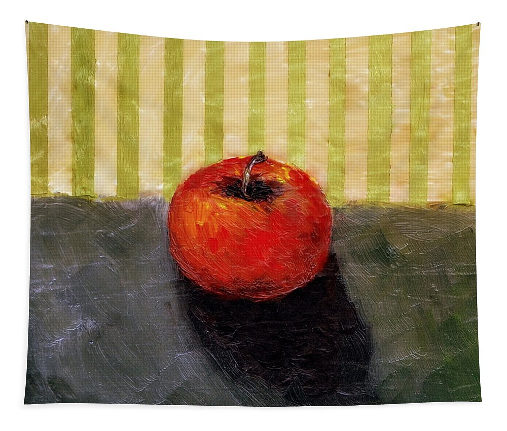 Apple Tapestry featuring the painting Apple Still Life with Grey and Olive by Michelle Calkins