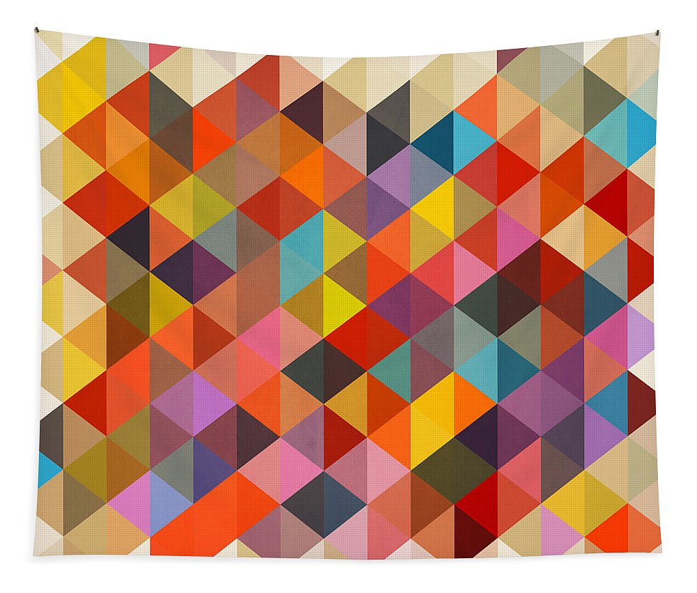 Contemporary Tapestry featuring the painting Geometric Shapes Abstract by Mark Ashkenazi
