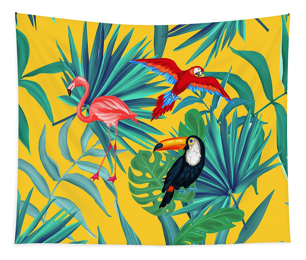 Parrot Tapestry featuring the digital art Yellow Tropic by Mark Ashkenazi