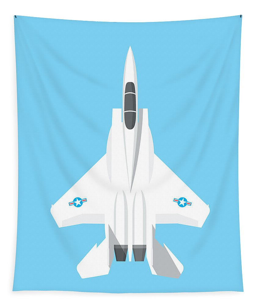 Jet Tapestry featuring the digital art F-15 Eagle Fighter Jet Aircraft - Sky by Organic Synthesis